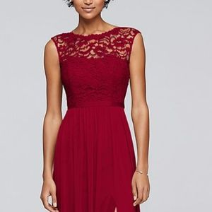 Long Red Bridesmaid Dress with Lace Bodice | Small